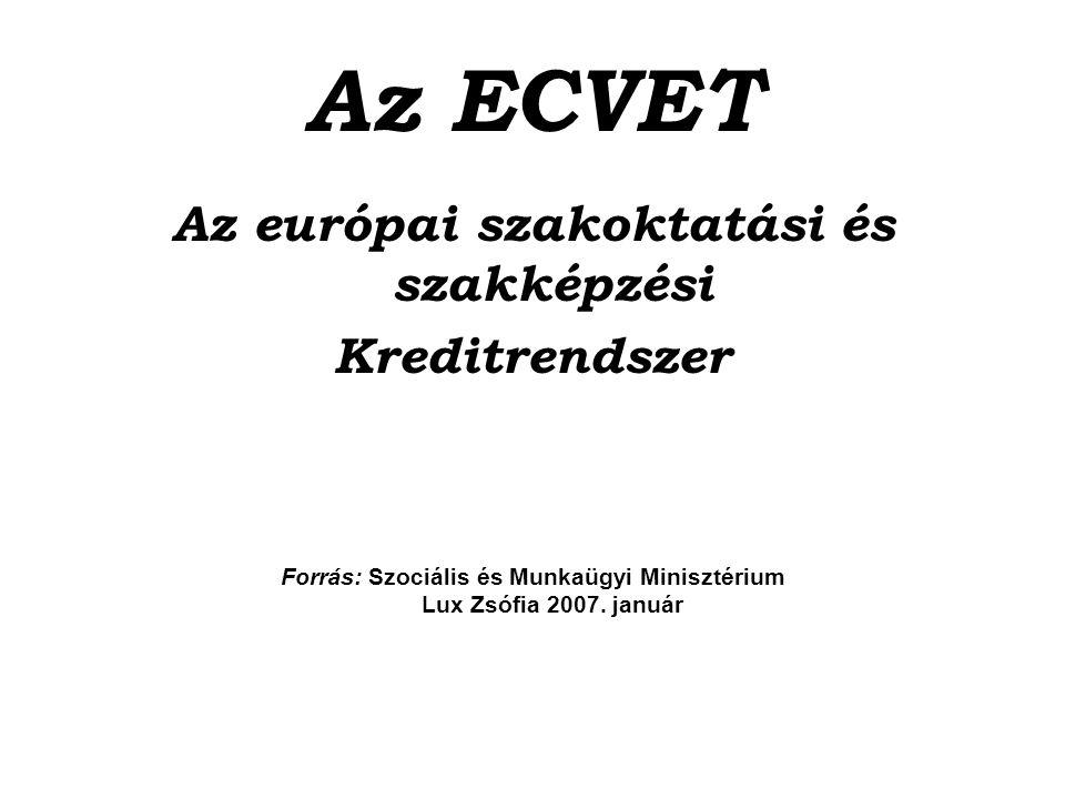 Az ECVET Az európai szakoktatási és szakképzési Kreditrendszer