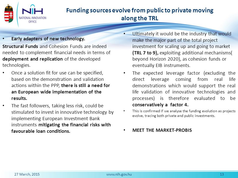 Funding sources evolve from public to private moving along the TRL