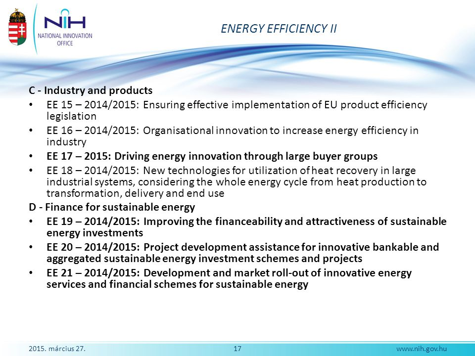 ENERGY EFFICIENCY II C - Industry and products