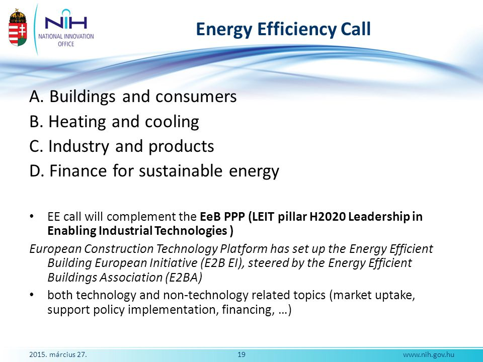 Energy Efficiency Call