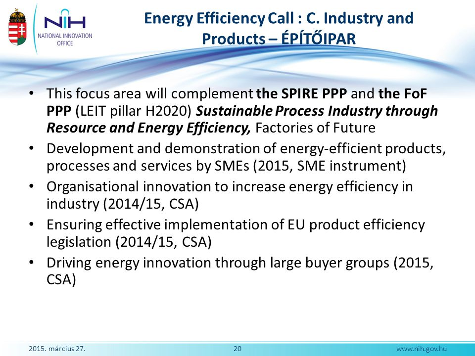 Energy Efficiency Call : C. Industry and Products – ÉPÍTŐIPAR