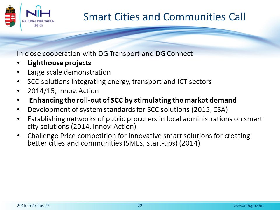 Smart Cities and Communities Call