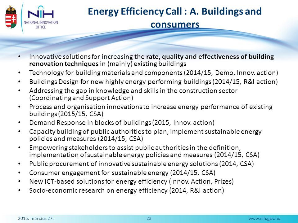 Energy Efficiency Call : A. Buildings and consumers