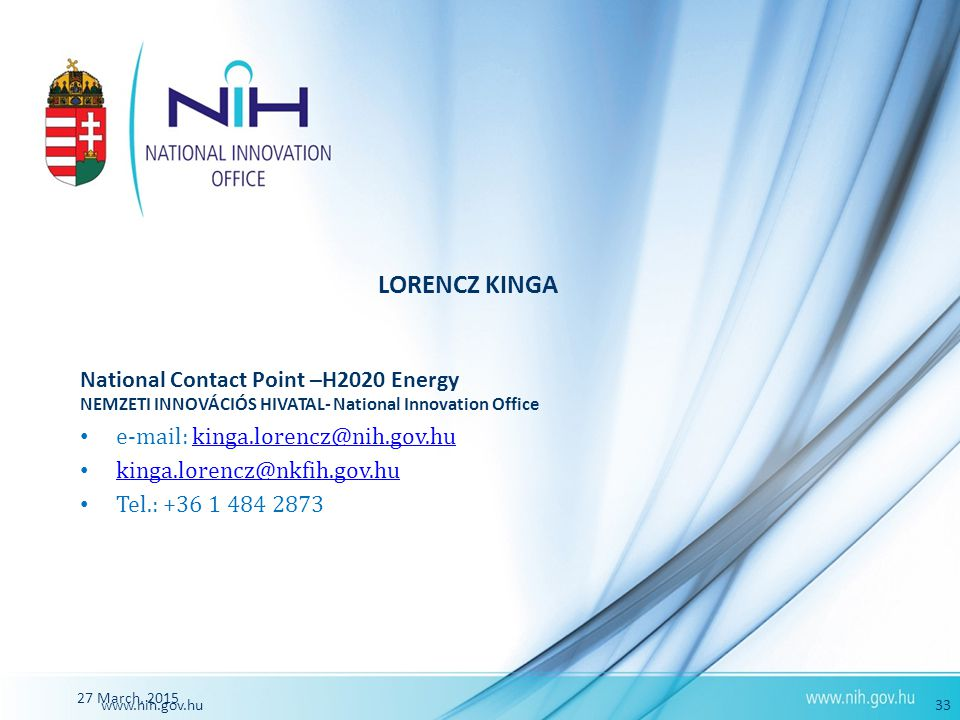 LORENCZ KINGA National Contact Point –H2020 Energy