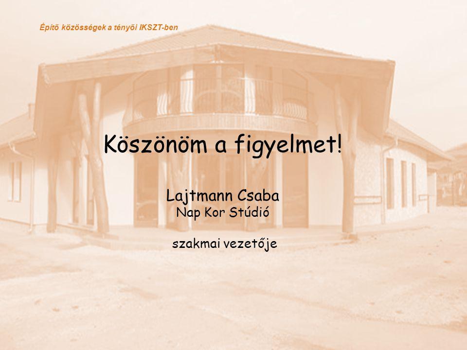 Köszönöm a figyelmet! Lajtmann Csaba Nap Kor Stúdió szakmai vezetője