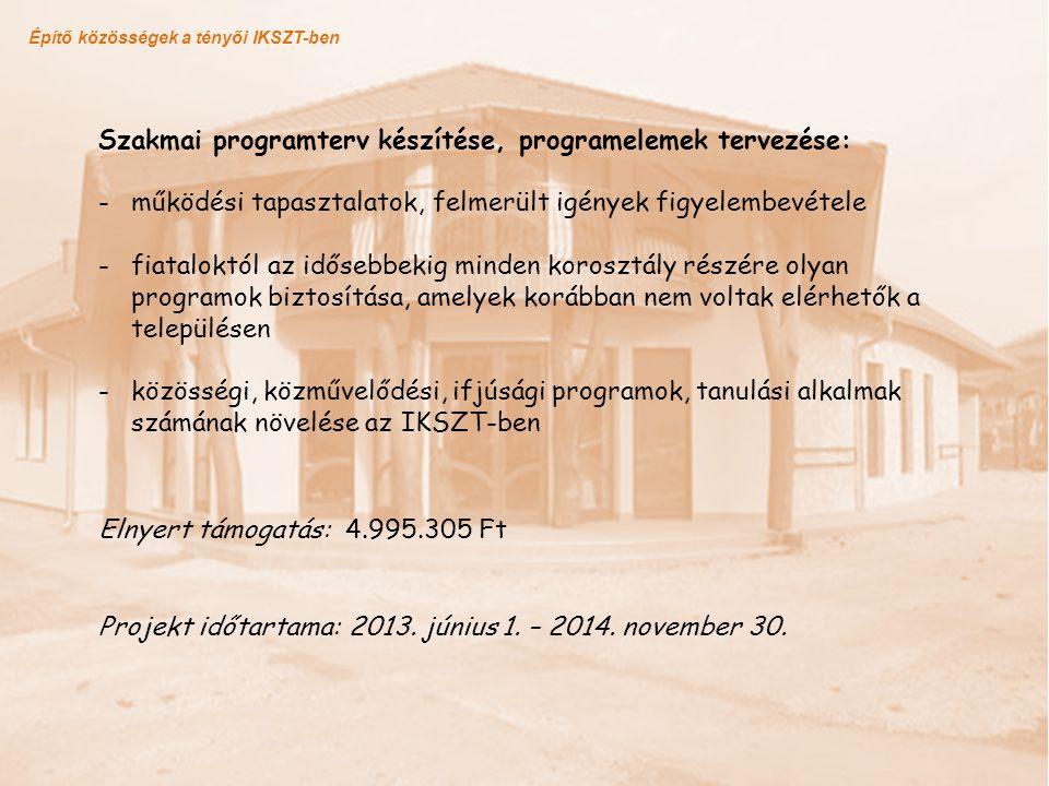 Szakmai programterv készítése, programelemek tervezése: