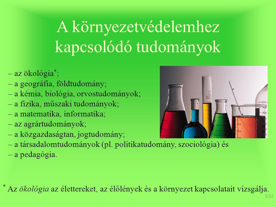 A környezetvédelemhez kapcsolódó tudományok