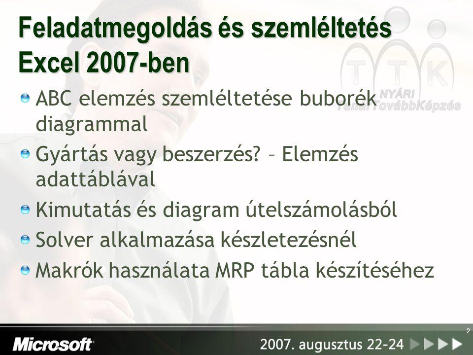 Feladatmegoldás és szemléltetés Excel 2007-ben