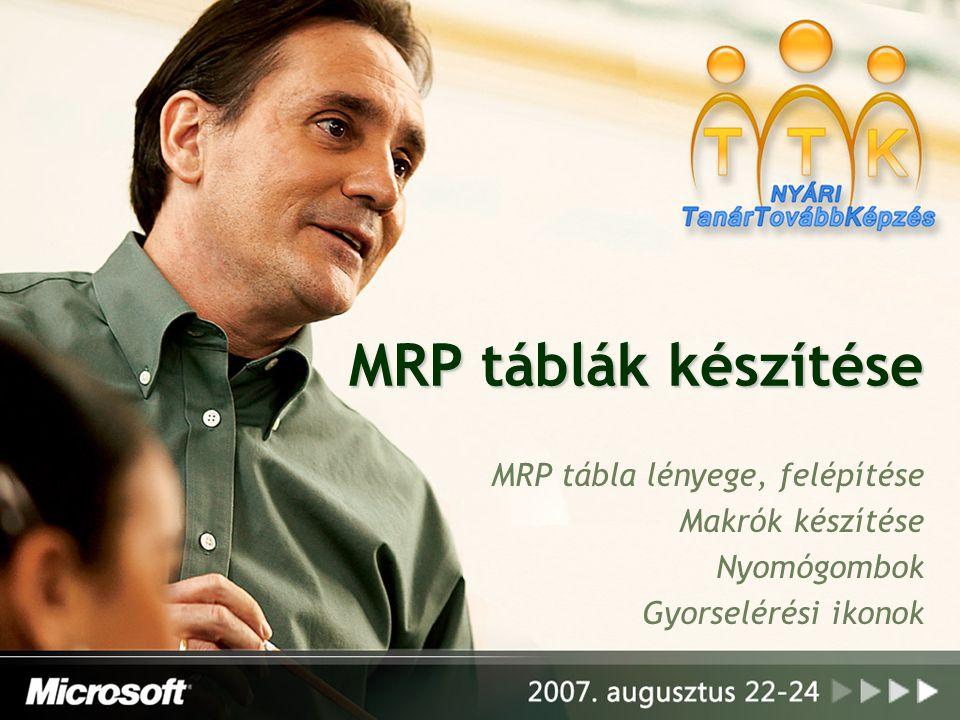 MRP táblák készítése MRP tábla lényege, felépítése Makrók készítése