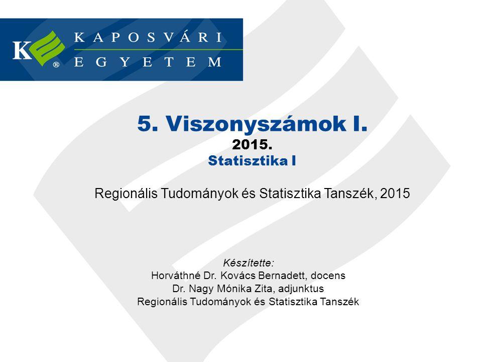 VISZONYSZÁMOK 5. Viszonyszámok I. 2015. Statisztika I