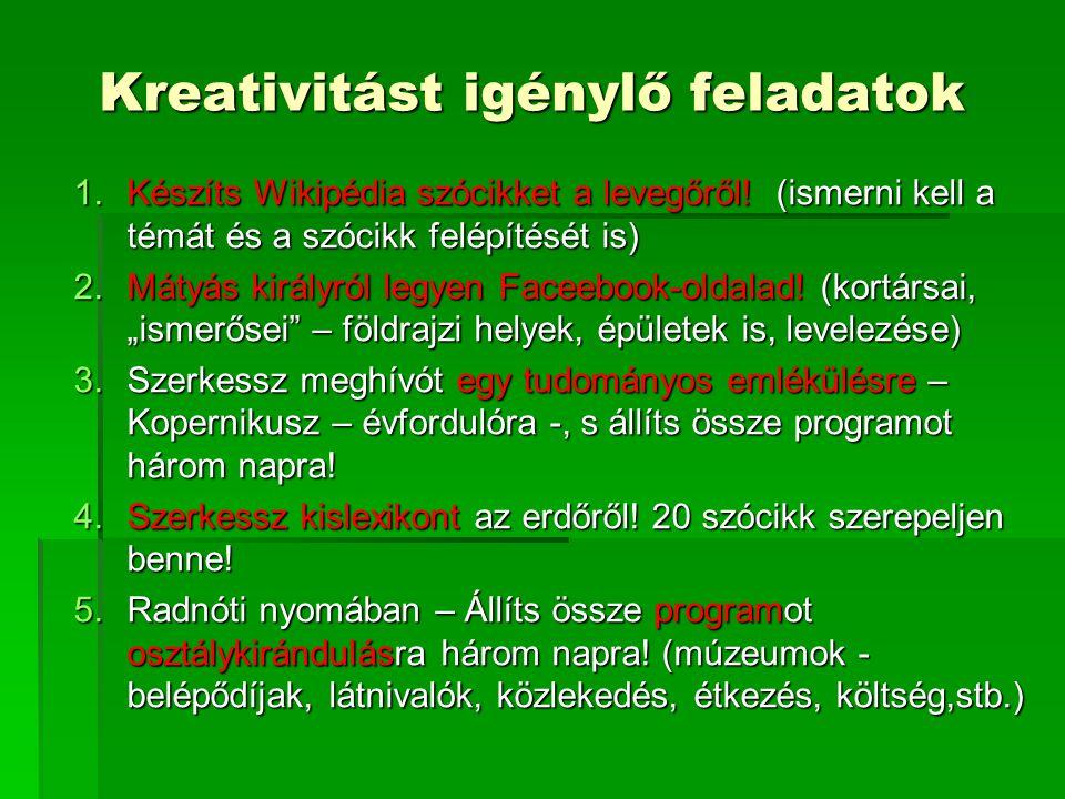 Kreativitást igénylő feladatok