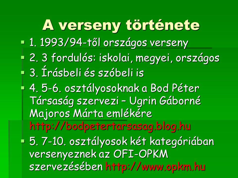 A verseny története 1. 1993/94-től országos verseny