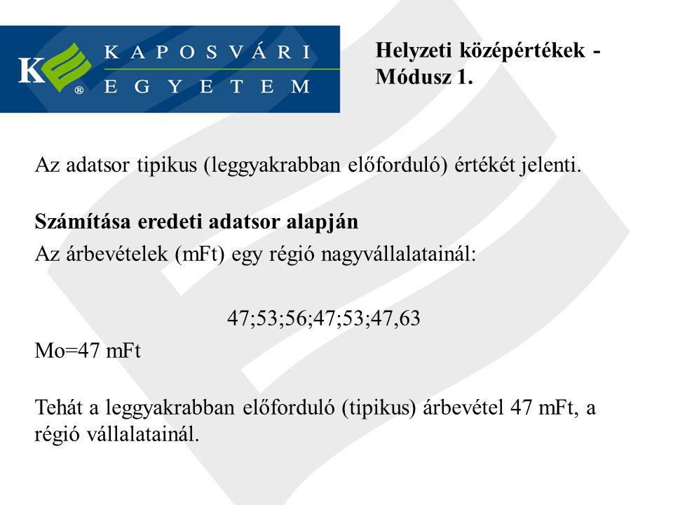 Helyzeti középértékek - Módusz 1.