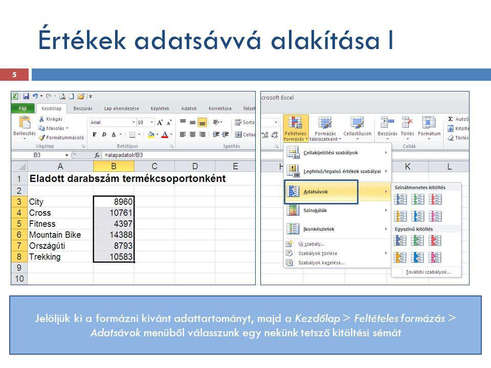 Értékek adatsávvá alakítása I
