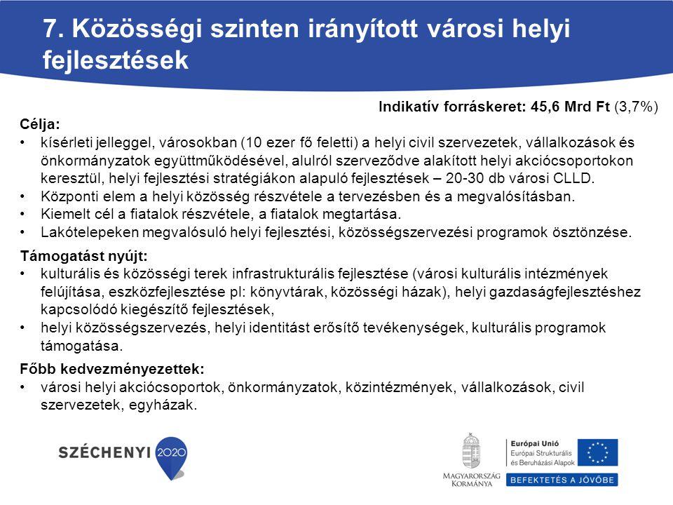 7. Közösségi szinten irányított városi helyi fejlesztések