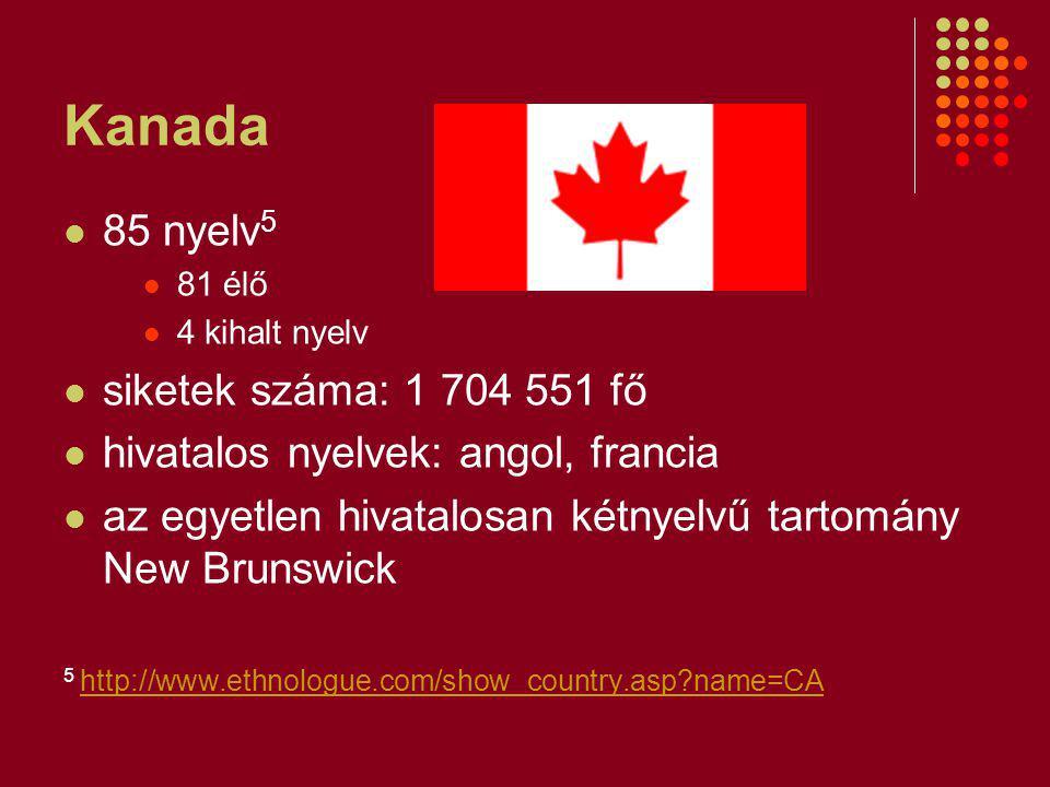 Kanada 85 nyelv5 siketek száma: 1 704 551 fő