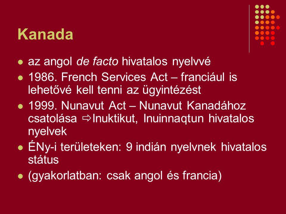 Kanada az angol de facto hivatalos nyelvvé