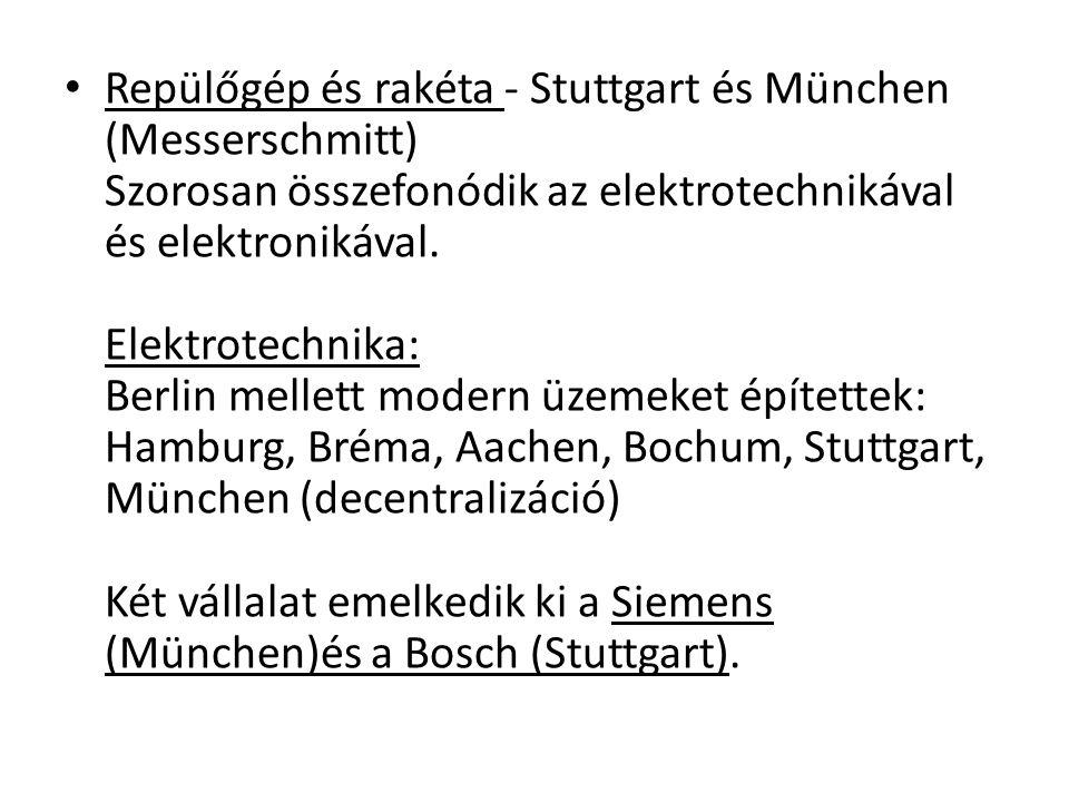 Repülőgép és rakéta - Stuttgart és München (Messerschmitt) Szorosan összefonódik az elektrotechnikával és elektronikával.