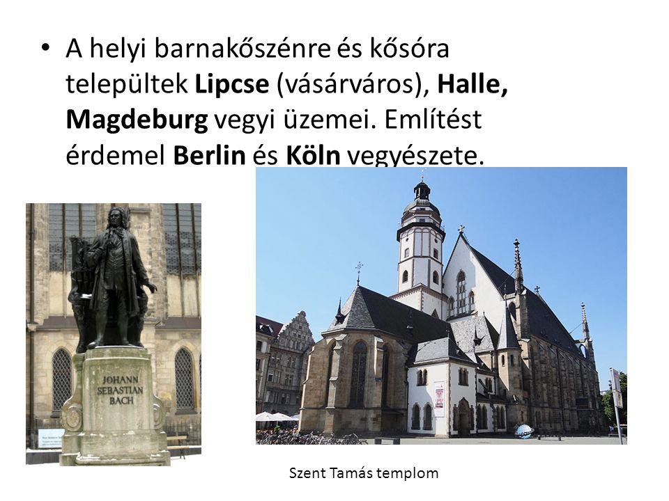 A helyi barnakőszénre és kősóra települtek Lipcse (vásárváros), Halle, Magdeburg vegyi üzemei. Említést érdemel Berlin és Köln vegyészete.
