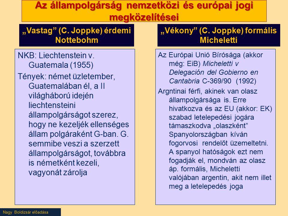 Az állampolgárság nemzetközi és európai jogi megközelítései