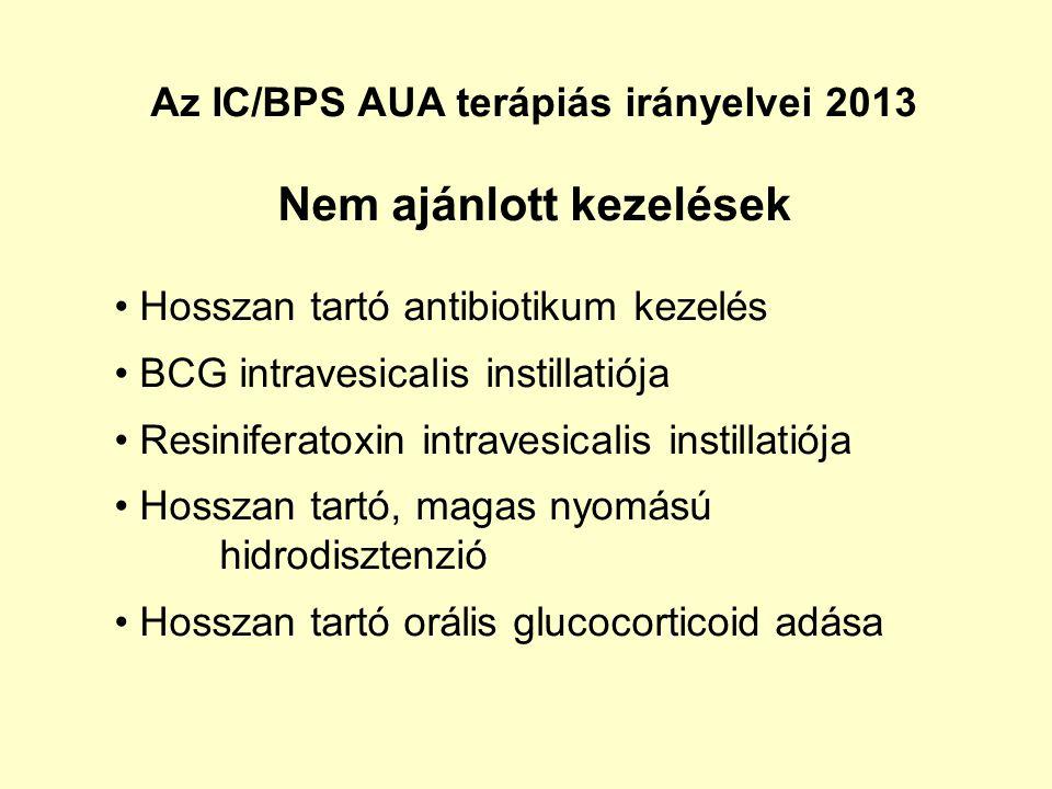 Az IC/BPS AUA terápiás irányelvei 2013 Nem ajánlott kezelések