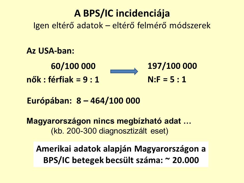 A BPS/IC incidenciája Igen eltérő adatok – eltérő felmérő módszerek