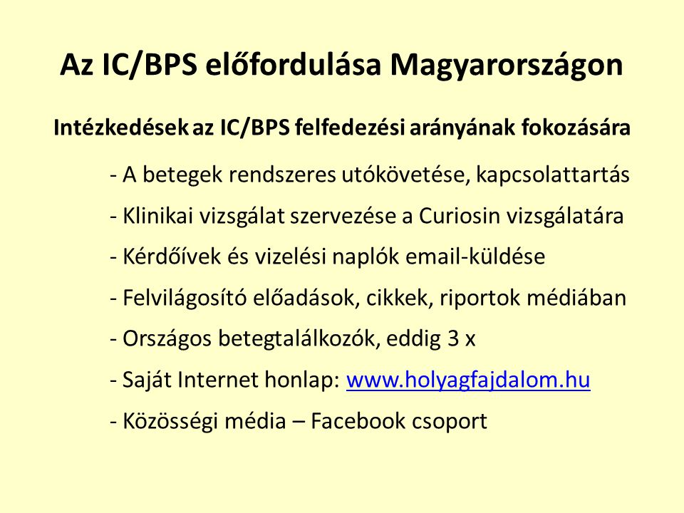 Az IC/BPS előfordulása Magyarországon