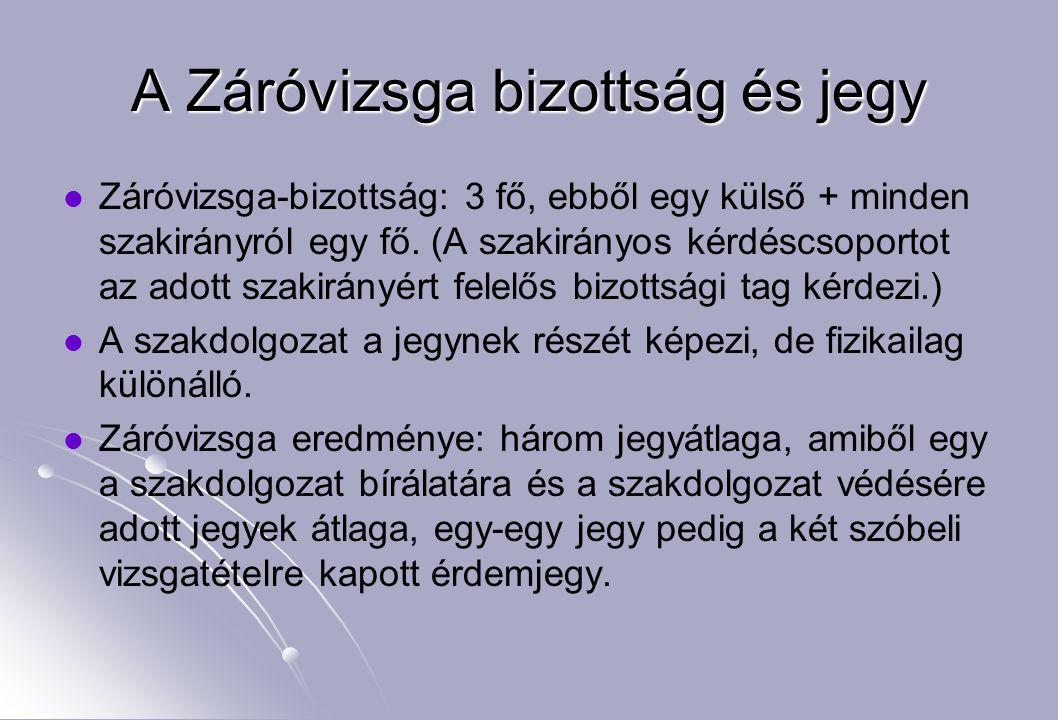 A Záróvizsga bizottság és jegy