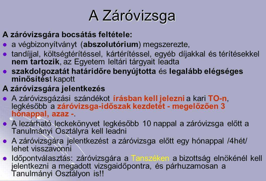A Záróvizsga A záróvizsgára bocsátás feltétele:
