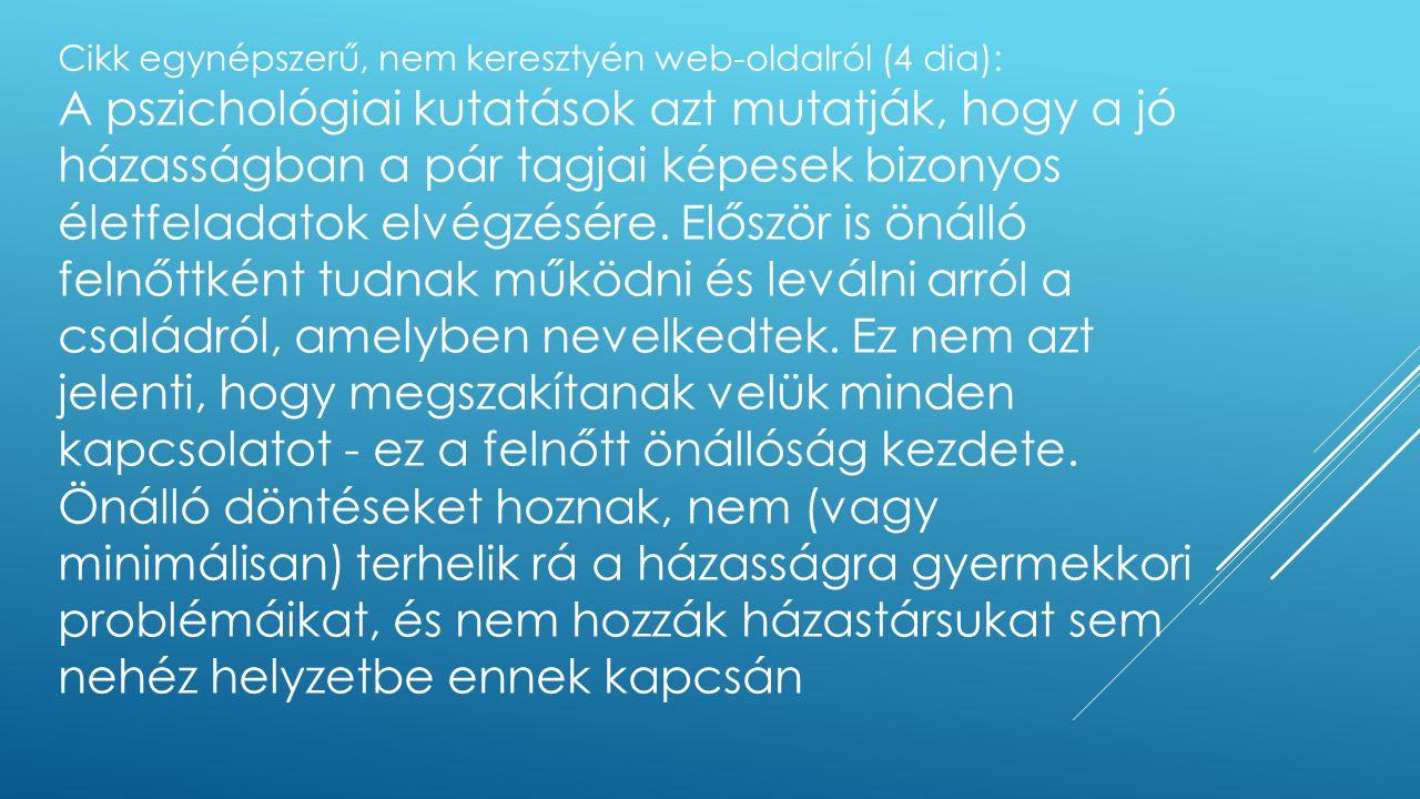 Cikk egynépszerű, nem keresztyén web-oldalról (4 dia):