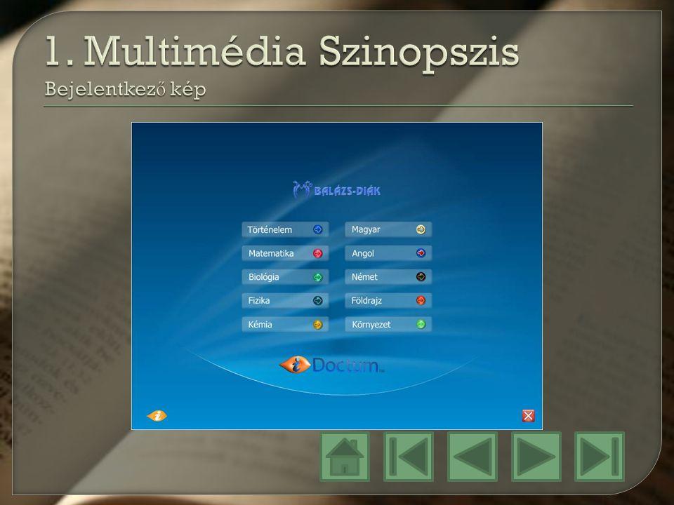 1. Multimédia Szinopszis Bejelentkező kép