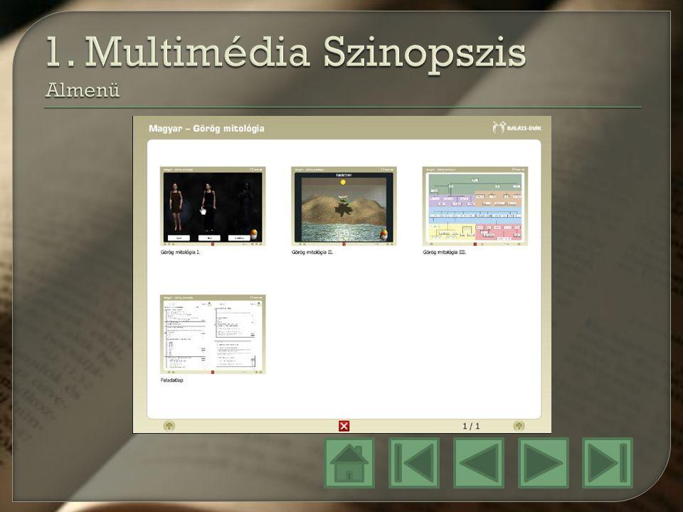 1. Multimédia Szinopszis Almenü