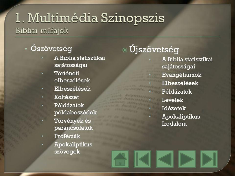 1. Multimédia Szinopszis Bibliai műfajok