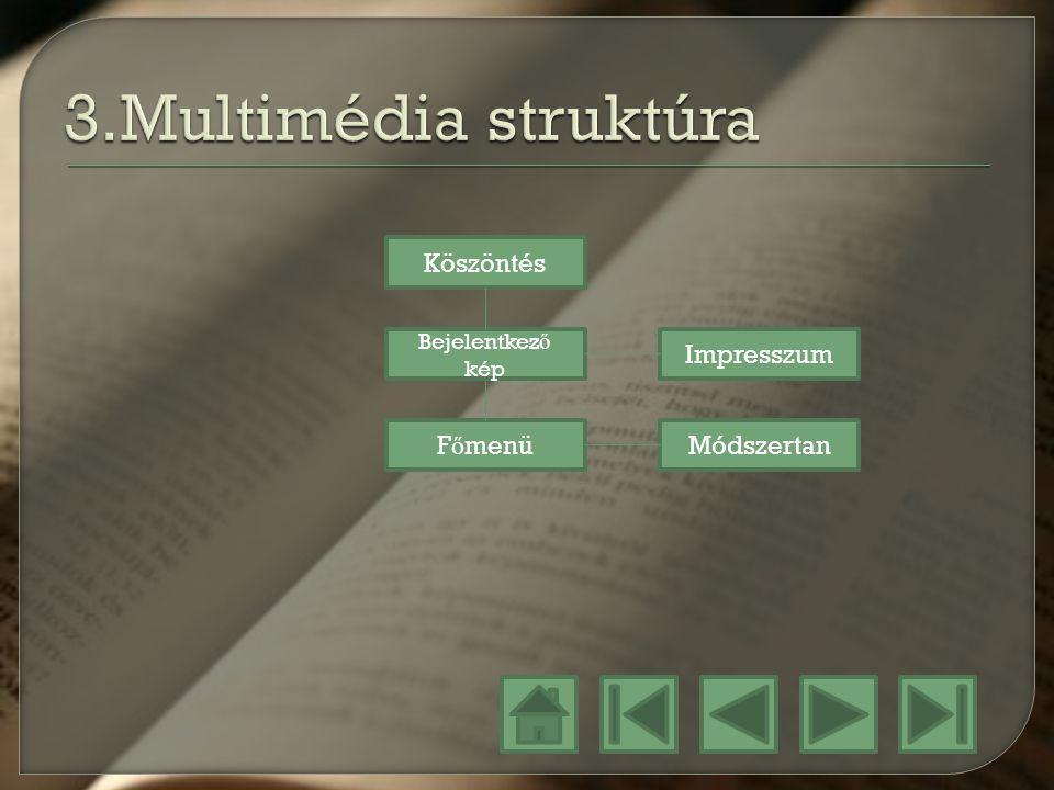 3.Multimédia struktúra Köszöntés Impresszum Főmenü Módszertan