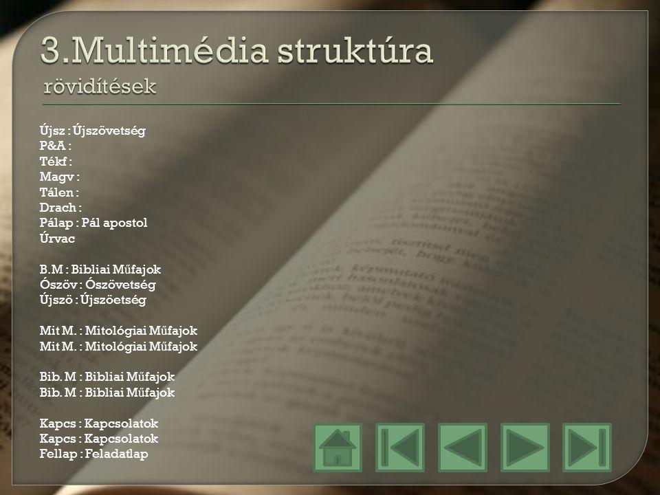 3.Multimédia struktúra rövidítések