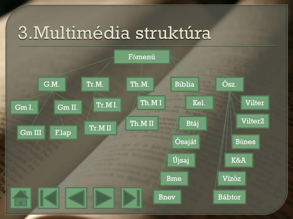 3.Multimédia struktúra Főmenü G.M. Tr.M. Th.M. Biblia Ósz. Th.M I Kel.