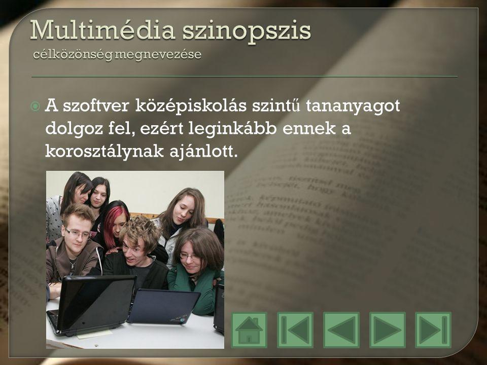 Multimédia szinopszis célközönség megnevezése