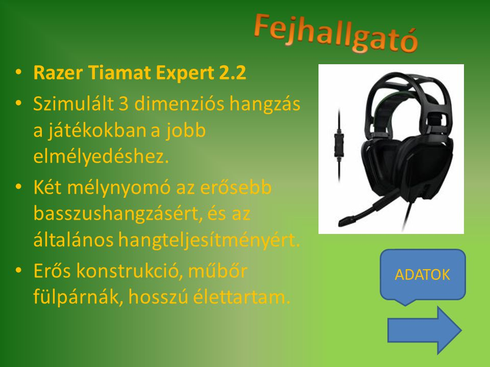 Fejhallgató Razer Tiamat Expert 2.2