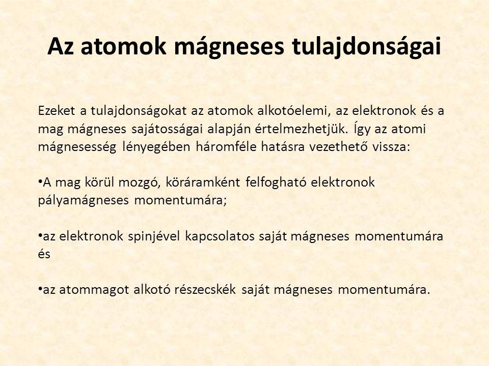 Az atomok mágneses tulajdonságai