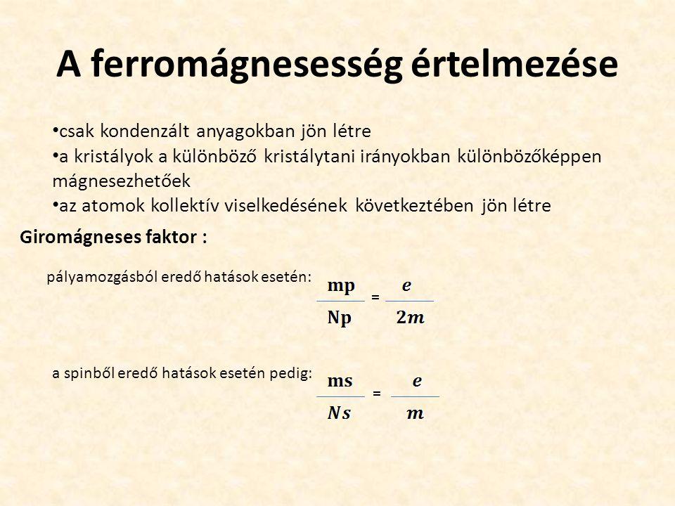 A ferromágnesesség értelmezése