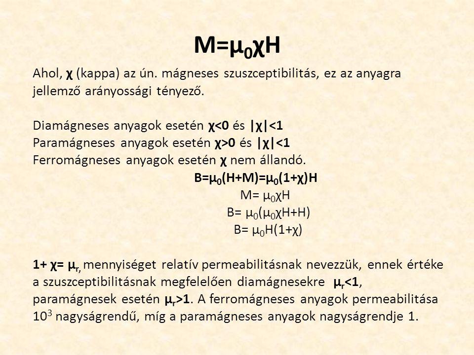 M=µ0χH Ahol, χ (kappa) az ún. mágneses szuszceptibilitás, ez az anyagra jellemző arányossági tényező.