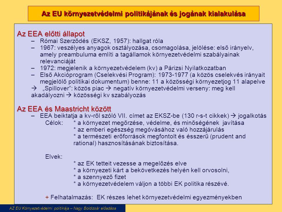 Az EU környezetvédelmi politikájának és jogának kialakulása