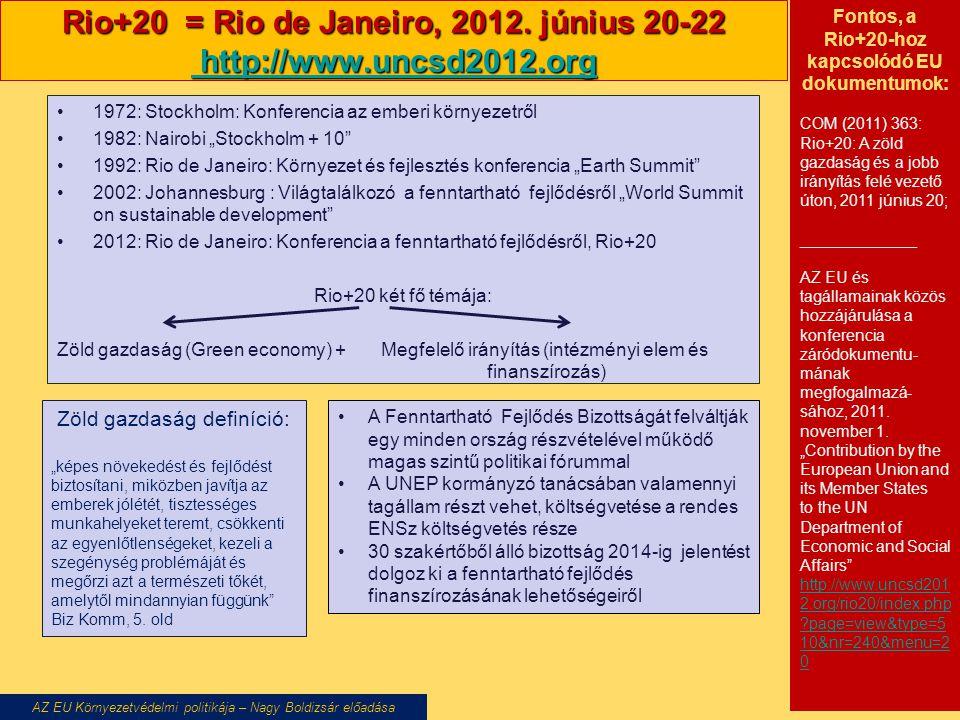 Rio+20 = Rio de Janeiro, 2012. június 20-22 http://www.uncsd2012.org