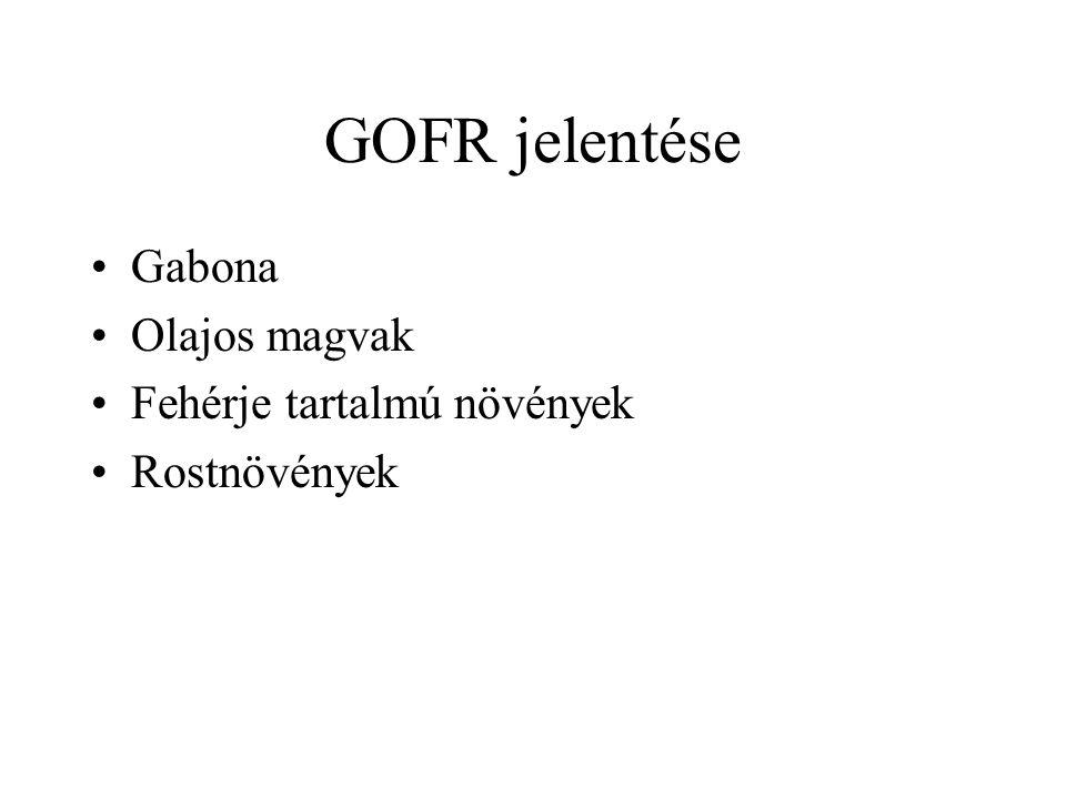 GOFR jelentése Gabona Olajos magvak Fehérje tartalmú növények