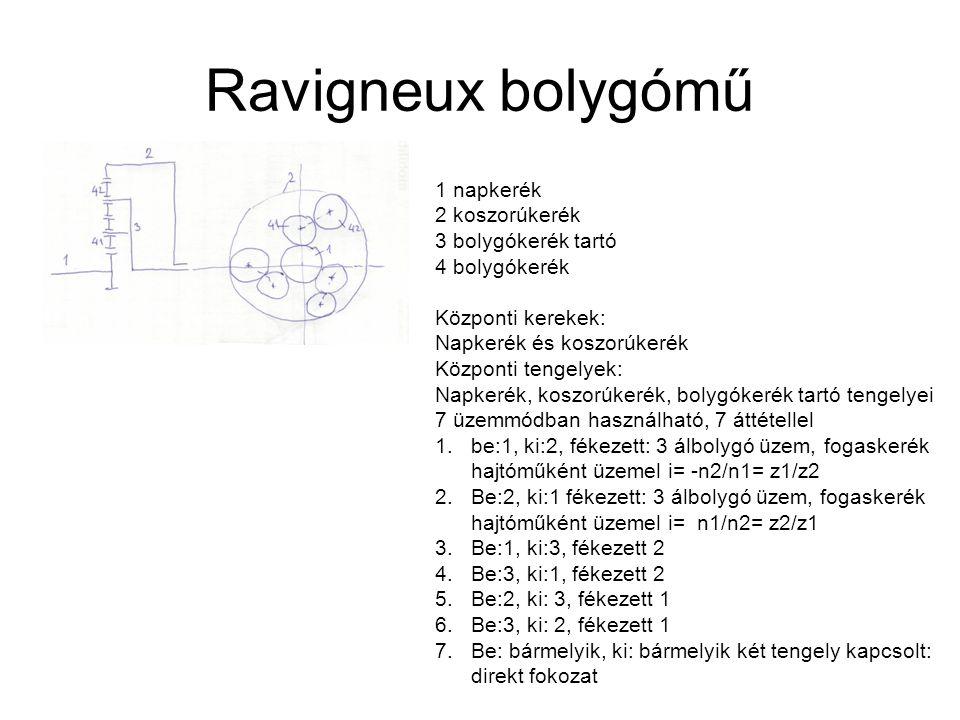 Ravigneux bolygómű 1 napkerék 2 koszorúkerék 3 bolygókerék tartó