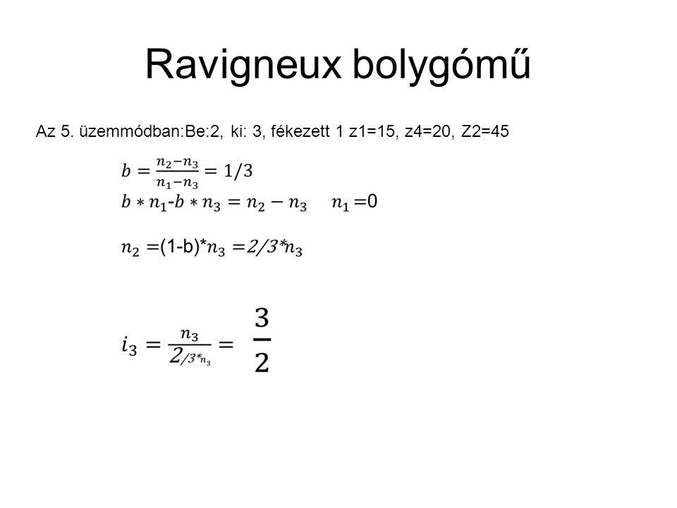 Ravigneux bolygómű Az 5. üzemmódban:Be:2, ki: 3, fékezett 1 z1=15, z4=20, Z2=45