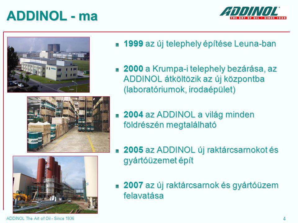 ADDINOL - ma 1999 az új telephely építése Leuna-ban