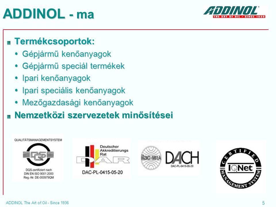 ADDINOL - ma Termékcsoportok: Nemzetközi szervezetek minősítései