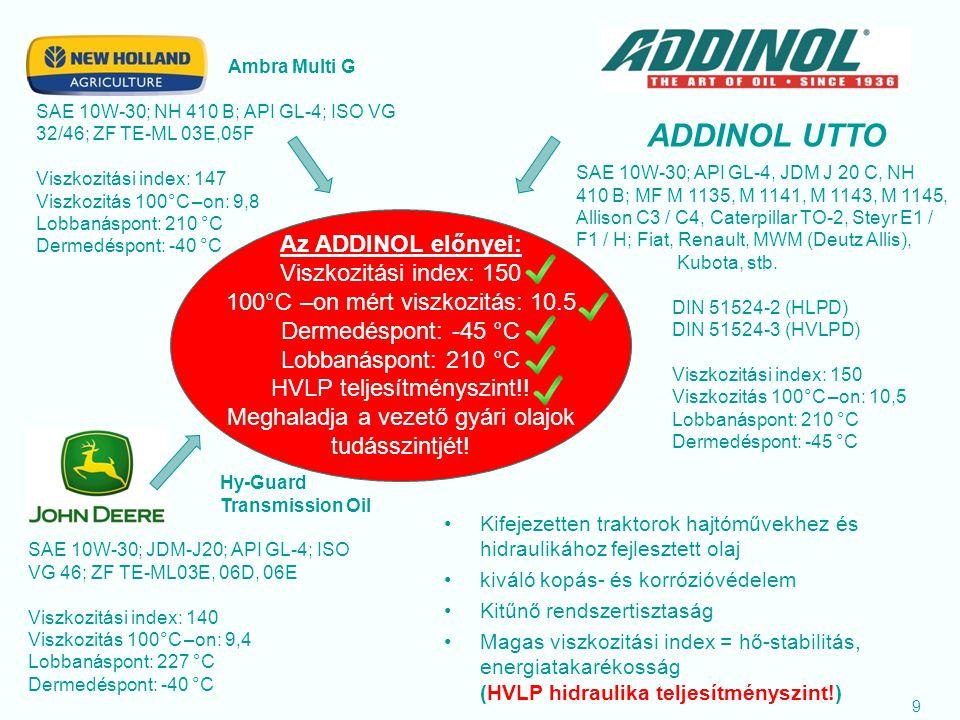 ADDINOL UTTO Az ADDINOL előnyei: Viszkozitási index: 150