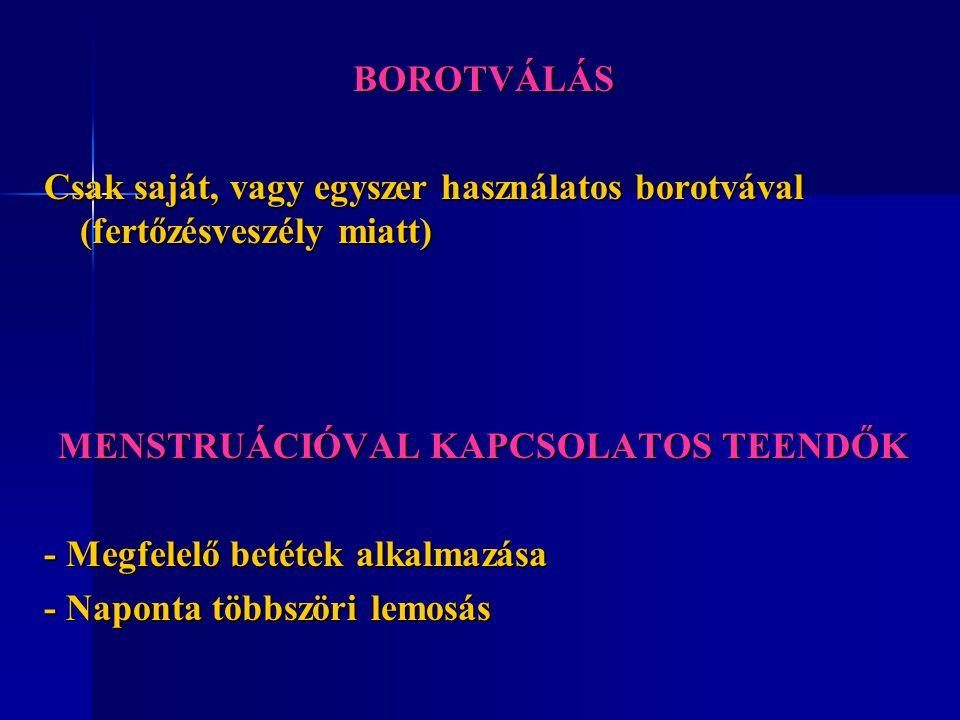 MENSTRUÁCIÓVAL KAPCSOLATOS TEENDŐK